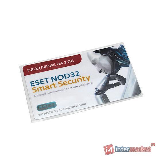 Антивирус NOD32 Smart Security, NOD32-ESS-RN(CARD3)-1-1, Std, 3 user, продление на 1 год, карточка