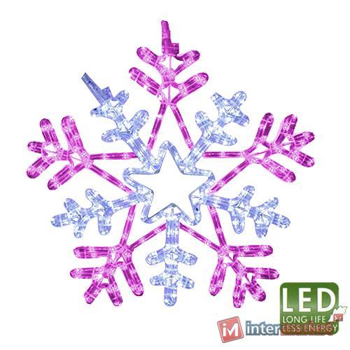 Декорация светодиодная Снежинка 0,5м розовая/холоднобелая
